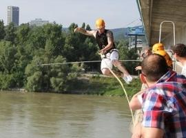 Free fall from Bratislava's bridge over Danube