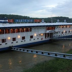 Botel floating on river Danube